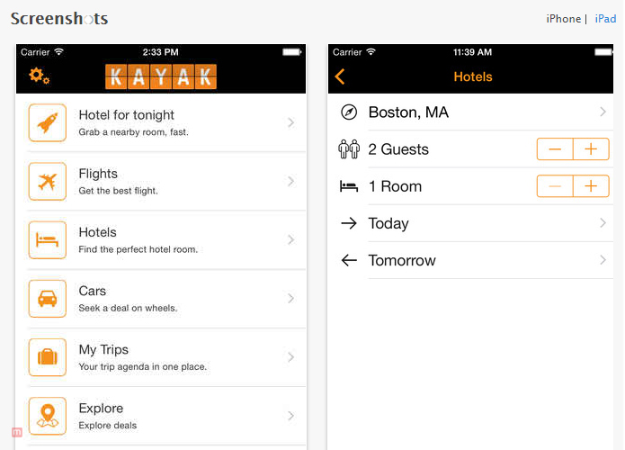 Travel apps for iPhone Kayak